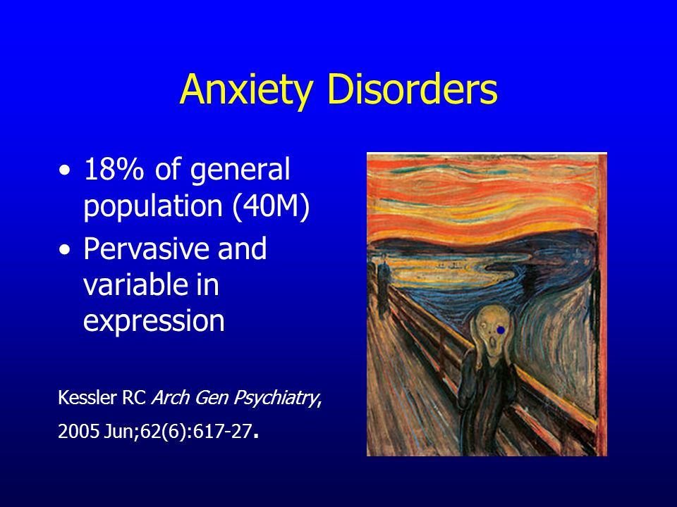 Anxiety Disorders 18% of general population (40M) Pervasive and variable in expression Kessler RC Arch Gen Psychiatry, 2005 Jun;62(6):617-27.