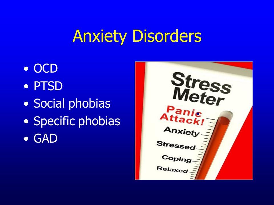 Anxiety Disorders OCD PTSD Social phobias Specific phobias GAD