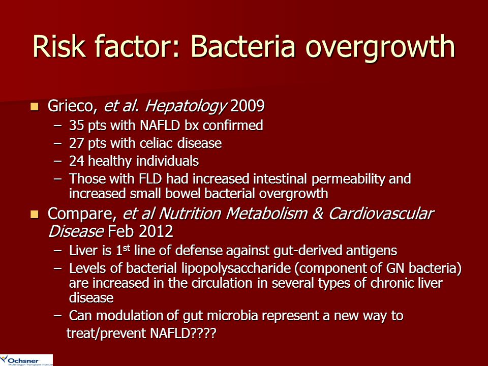 Risk factor: Bacteria overgrowth Grieco, et al. Hepatology 2009 Grieco, et al. Hepatology 2009 –35 pts with NAFLD bx confirmed –27 pts with celiac dis