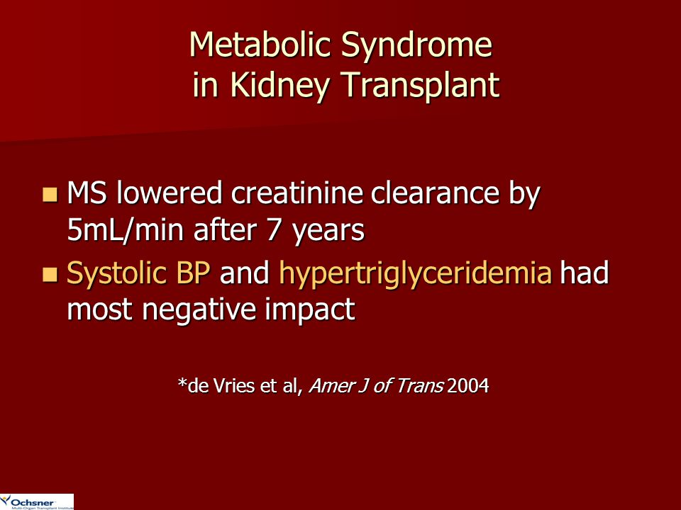 Metabolic Syndrome in Kidney Transplant MS lowered creatinine clearance by 5mL/min after 7 years MS lowered creatinine clearance by 5mL/min after 7 ye
