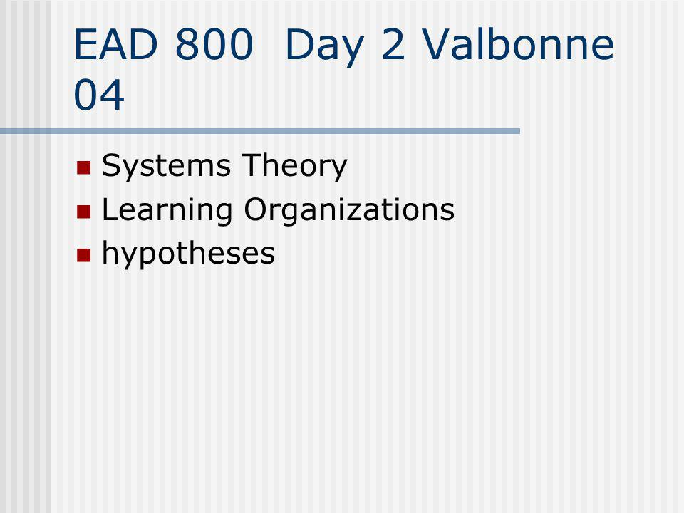 EAD 800 Day 2 Valbonne 04 Systems Theory Learning Organizations hypotheses