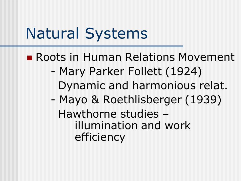 Natural Systems Roots in Human Relations Movement - Mary Parker Follett (1924) Dynamic and harmonious relat. - Mayo & Roethlisberger (1939) Hawthorne