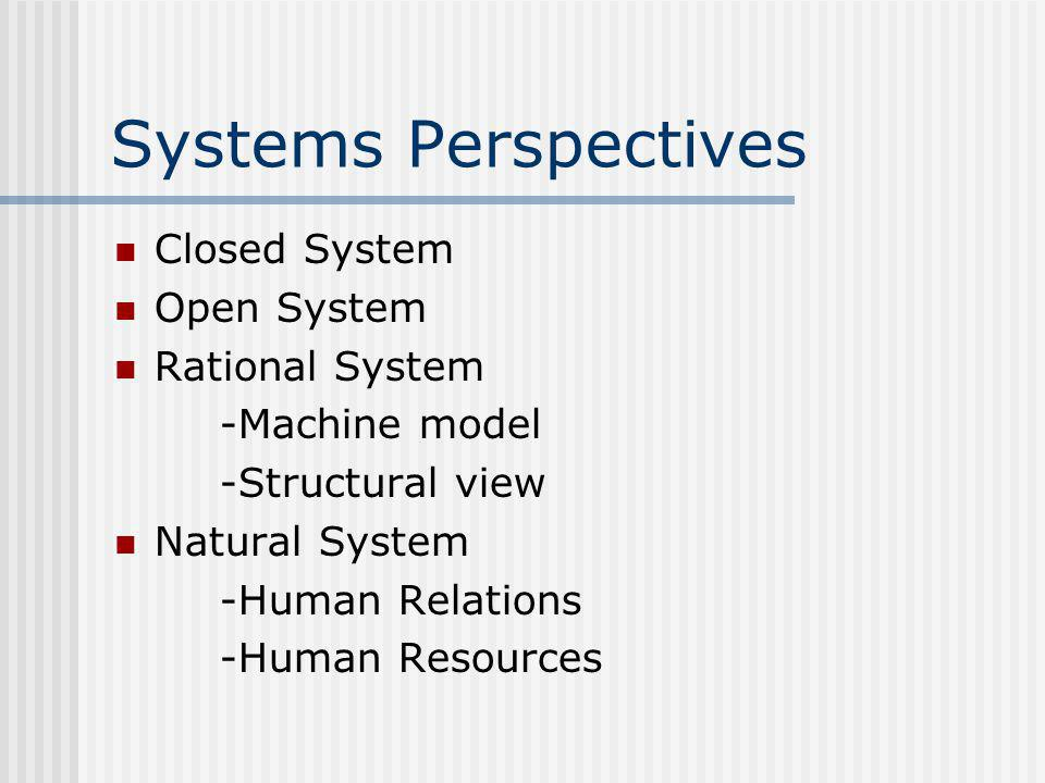 Systems Perspectives Closed System Open System Rational System -Machine model -Structural view Natural System -Human Relations -Human Resources