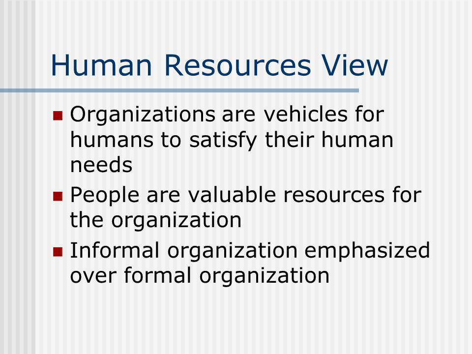 Human Resources View Organizations are vehicles for humans to satisfy their human needs People are valuable resources for the organization Informal or