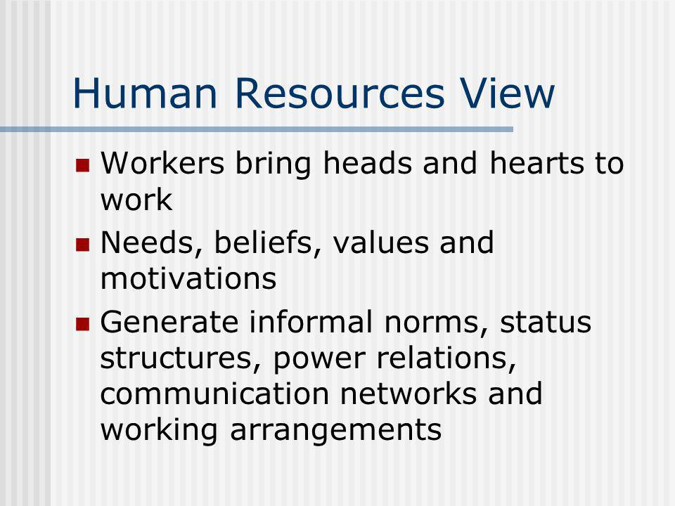Human Resources View Workers bring heads and hearts to work Needs, beliefs, values and motivations Generate informal norms, status structures, power r