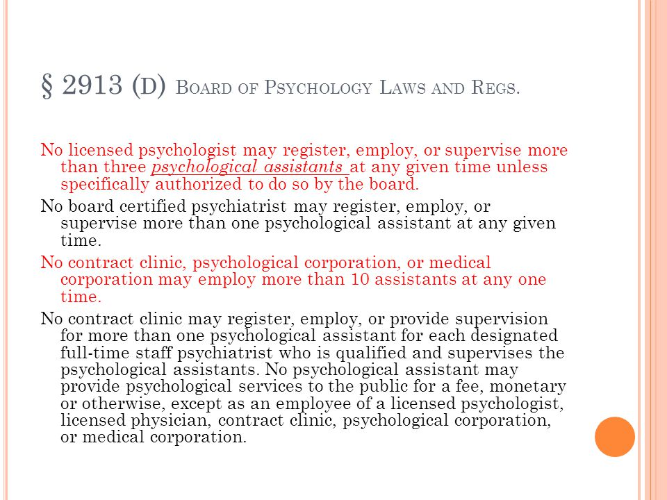 "CASOMB CONTINUED 2 ""Interns or psychological assistants should co- facilitate one hundred hours of direct services with an approved licensee before be"