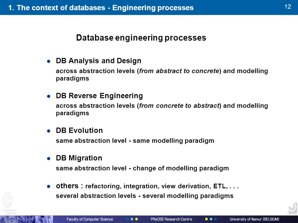 12 1. The context of databases - Engineering processes l DB Analysis and Design across abstraction levels (from abstract to concrete) and modelling pa