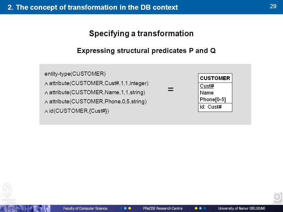29 2. The concept of transformation in the DB context Expressing structural predicates P and Q Specifying a transformation entity-type(CUSTOMER)  att