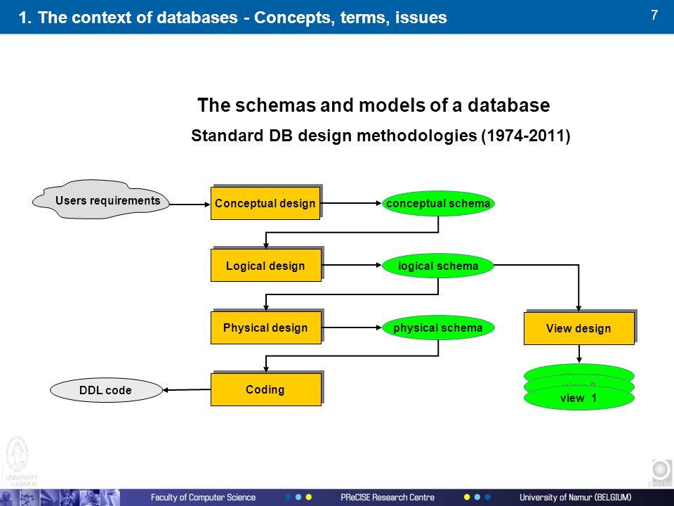 7 The schemas and models of a database Standard DB design methodologies (1974-2011) physical schema logical schema conceptual schema view n view 2 vie