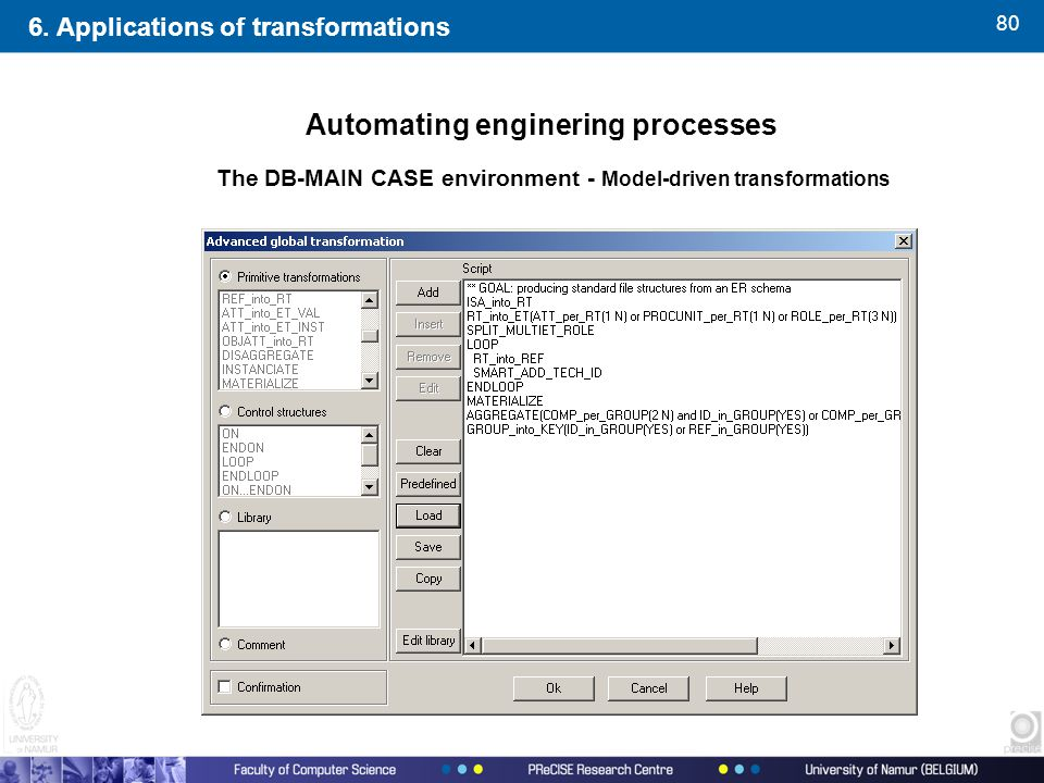 80 Automating enginering processes 6. Applications of transformations The DB-MAIN CASE environment - Model-driven transformations
