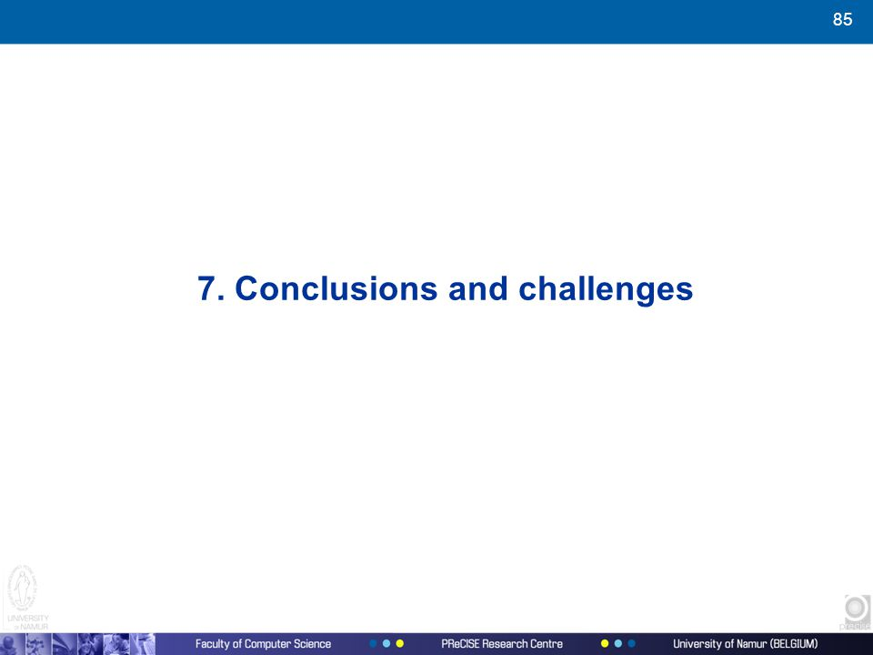 85 7. Conclusions and challenges