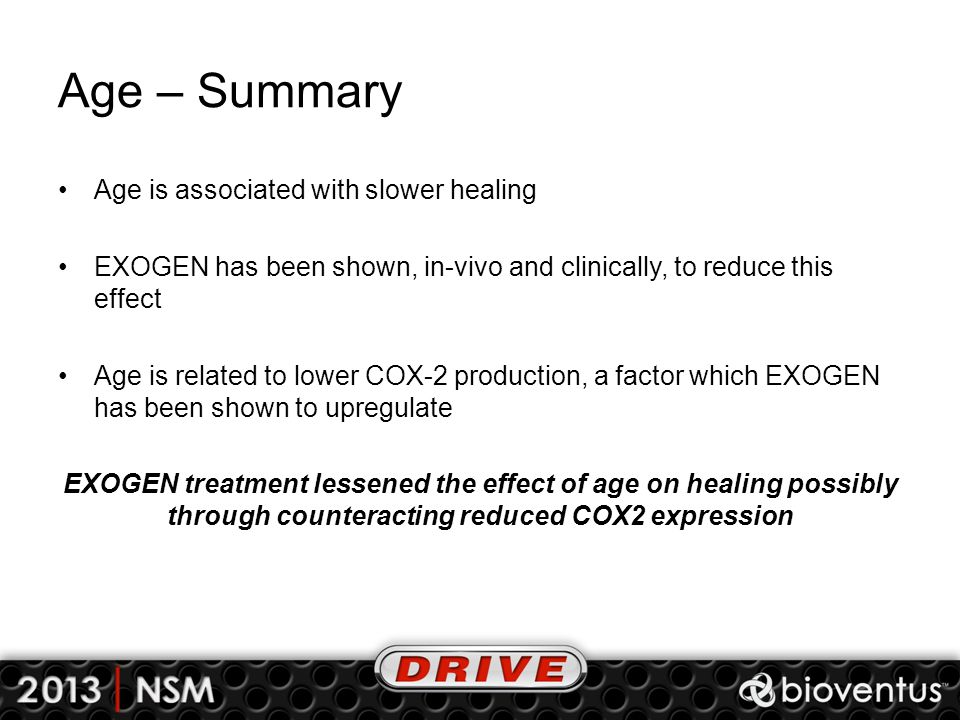 Age – Summary Age is associated with slower healing EXOGEN has been shown, in-vivo and clinically, to reduce this effect Age is related to lower COX-2