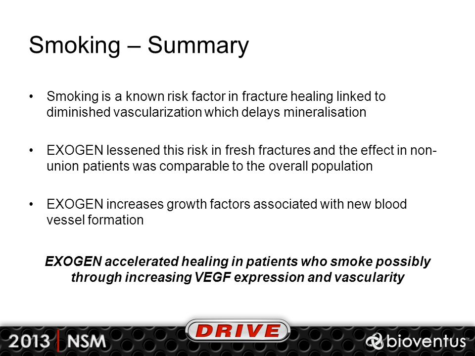 Smoking – Summary Smoking is a known risk factor in fracture healing linked to diminished vascularization which delays mineralisation EXOGEN lessened