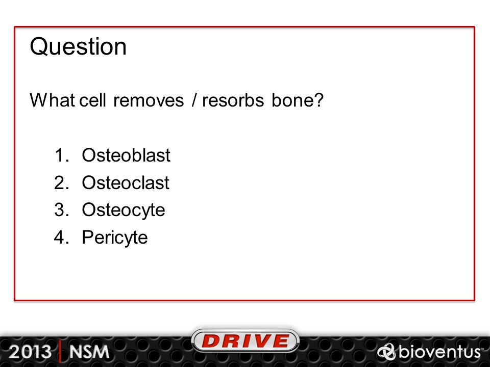 Question What cell removes / resorbs bone? 1.Osteoblast 2.Osteoclast 3.Osteocyte 4.Pericyte