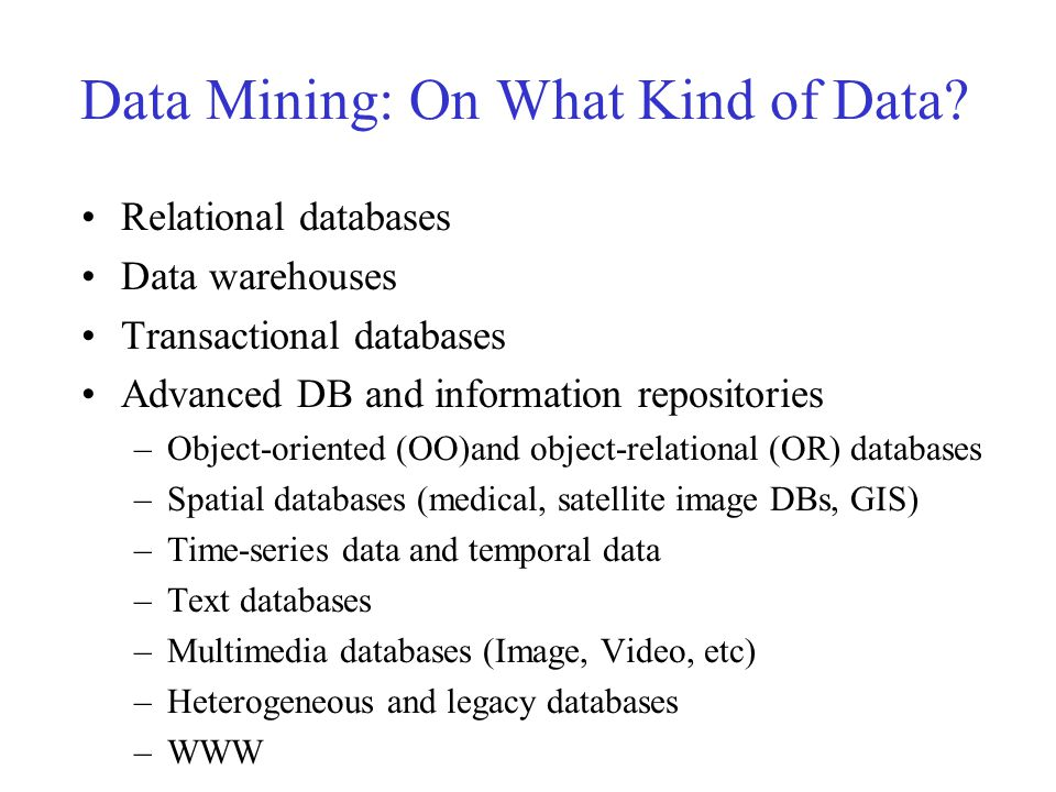 Data Mining Functionalities – Patterns that can be mined Concept description: Characterization and discrimination –Generalize, summarize, and contrast data characteristics, e.g., dry vs.