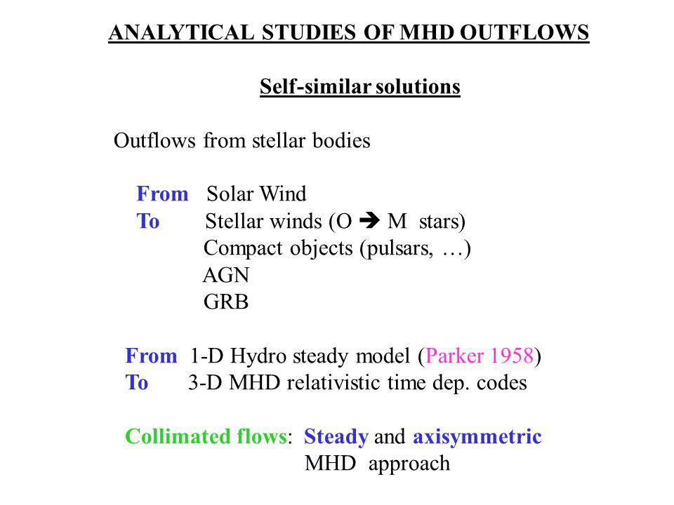 ANALYTICAL STUDIES OF MHD OUTFLOWS Self-similar solutions Outflows from stellar bodies From Solar Wind To Stellar winds (O  M stars) Compact objects (pulsars, …) AGN GRB From 1-D Hydro steady model (Parker 1958) To 3-D MHD relativistic time dep.