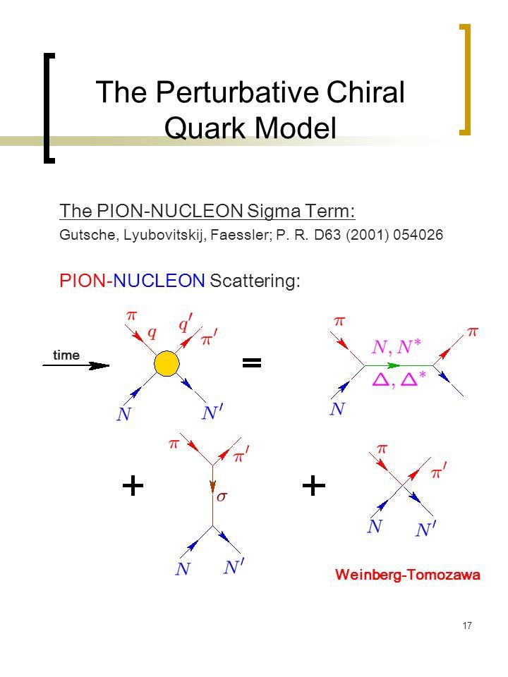 17 The Perturbative Chiral Quark Model The PION-NUCLEON Sigma Term: Gutsche, Lyubovitskij, Faessler; P. R. D63 (2001) 054026 PION-NUCLEON Scattering: