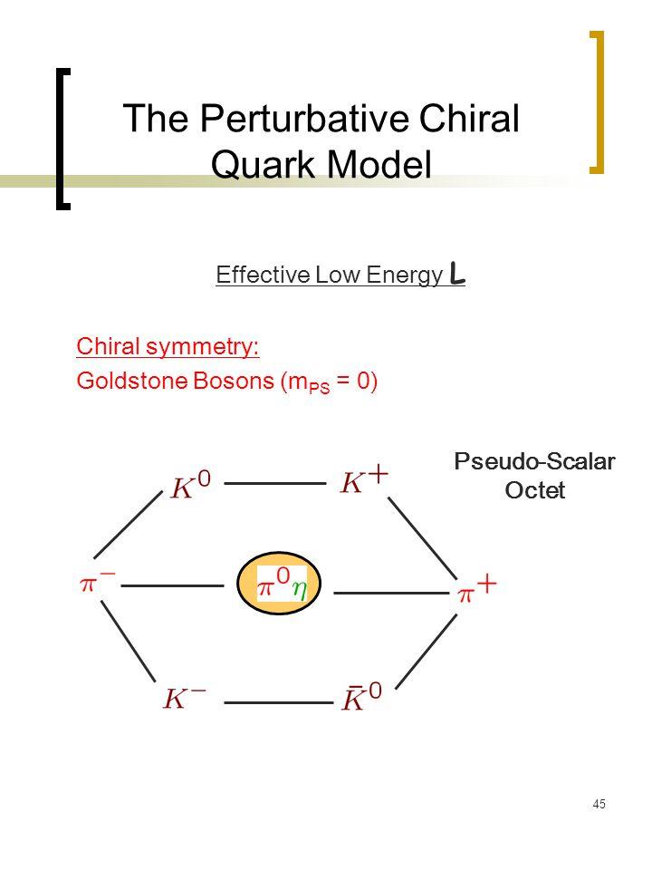 45 The Perturbative Chiral Quark Model Effective Low Energy L Chiral symmetry: Goldstone Bosons (m PS = 0) Pseudo-Scalar Octet