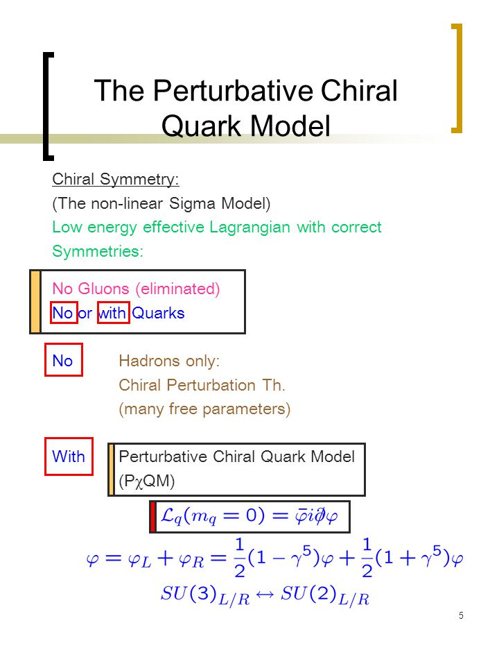 5 The Perturbative Chiral Quark Model Chiral Symmetry: (The non-linear Sigma Model) Low energy effective Lagrangian with correct Symmetries: No Gluons
