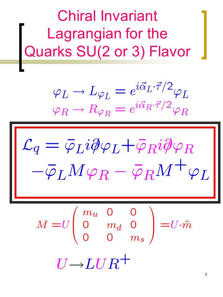 9 The Perturbative Chiral Quark Model Mass (or scalar Poten.) ≠ 0: Gell-Mann (SU2: )