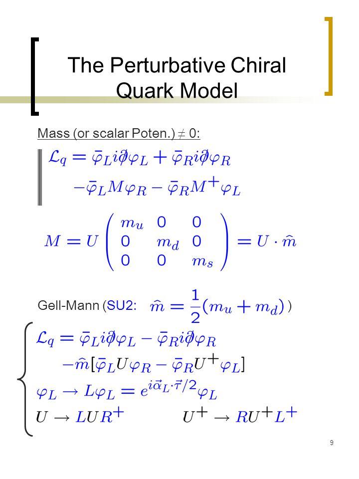 40 The Perturbative Chiral Quark Model (Effective Lagrangian) Chiral Perturbation Theory: Gluons eliminated Quarks eliminated Perturbative Chiral Quark Model (P χ QM) Gluons eliminated With Quarks