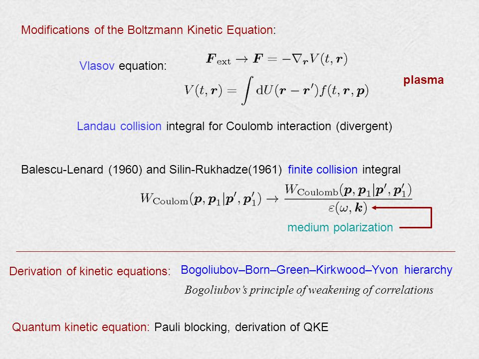 Modifications of the Boltzmann Kinetic Equation: Vlasov equation: Landau collision integral for Coulomb interaction (divergent) Balescu-Lenard (1960) and Silin-Rukhadze(1961) finite collision integral plasma medium polarization Derivation of kinetic equations: Bogoliubov–Born–Green–Kirkwood–Yvon hierarchy Bogoliubov's principle of weakening of correlations Quantum kinetic equation: Pauli blocking, derivation of QKE