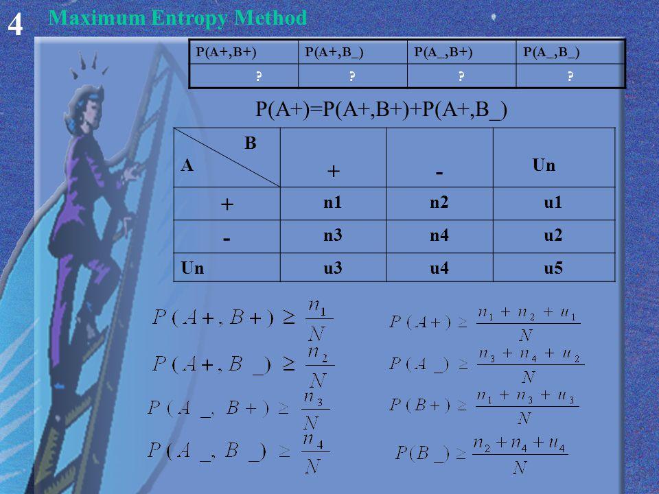 B A + - Un + n1n2u1 - n3n4u2 Unu3u4u5 Maximum Entropy Method 4 P(A+,B+)P(A+,B_)P(A_,B+)P(A_,B_) ???.