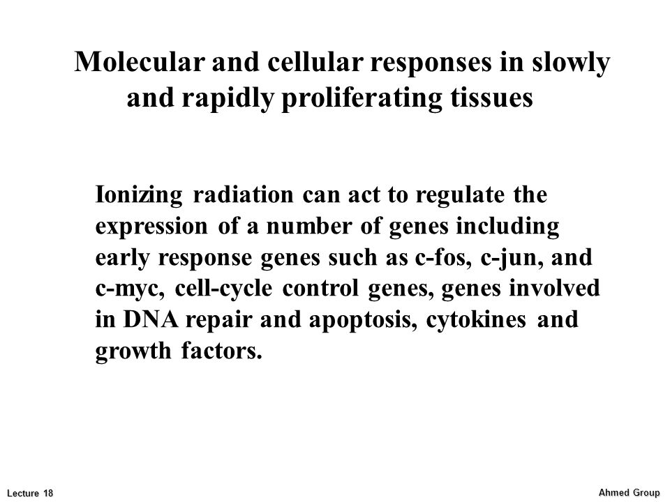 Ahmed Group Lecture 18 Ionizing radiation can act to regulate the expression of a number of genes including early response genes such as c-fos, c-jun, and c-myc, cell-cycle control genes, genes involved in DNA repair and apoptosis, cytokines and growth factors.