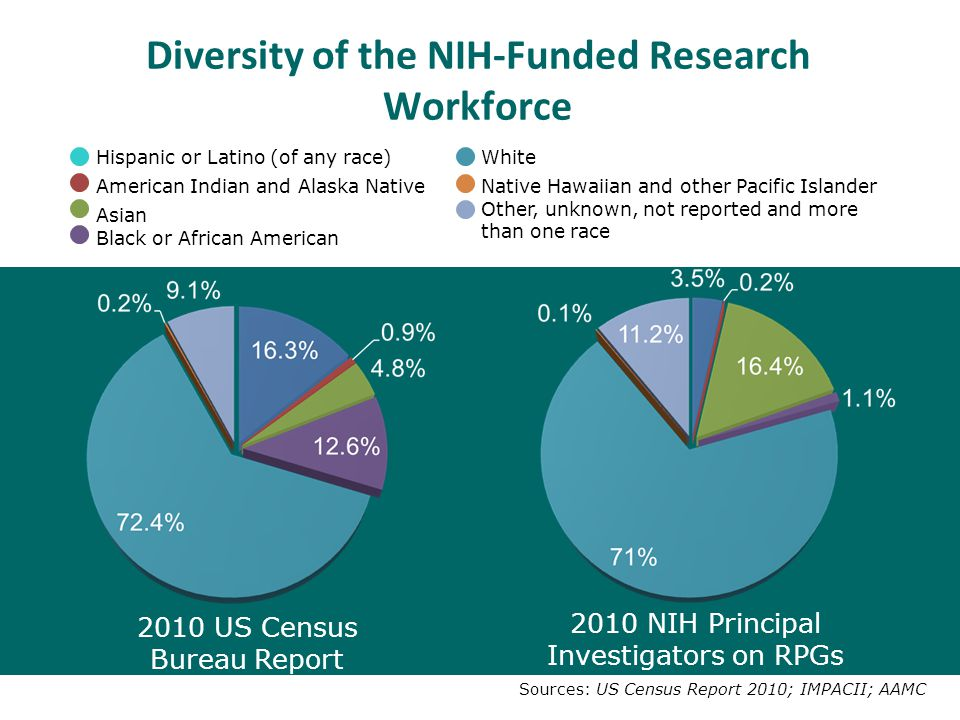 Diversity of the NIH-Funded Research Workforce 2010 US Census Bureau Report 2010 NIH Principal Investigators on RPGs Sources: US Census Report 2010; IMPACII; AAMC Hispanic or Latino (of any race)White American Indian and Alaska NativeNative Hawaiian and other Pacific Islander Asian Other, unknown, not reported and more than one race Black or African American