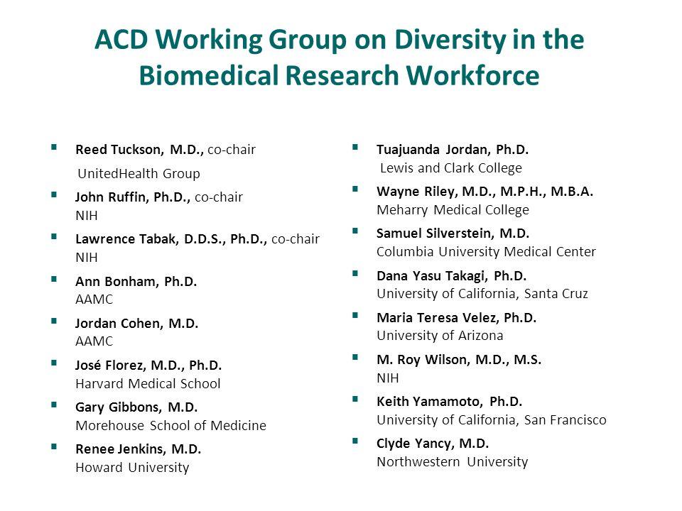 ACD Working Group on Diversity in the Biomedical Research Workforce  Reed Tuckson, M.D., co-chair UnitedHealth Group  John Ruffin, Ph.D., co-chair NIH  Lawrence Tabak, D.D.S., Ph.D., co-chair NIH  Ann Bonham, Ph.D.