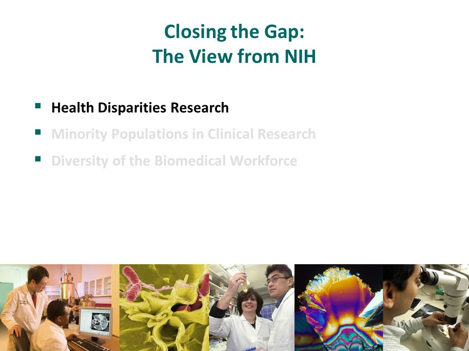 Closing the Gap: The View from NIH  Health Disparities Research  Minority Populations in Clinical Research  Diversity of the Biomedical Workforce