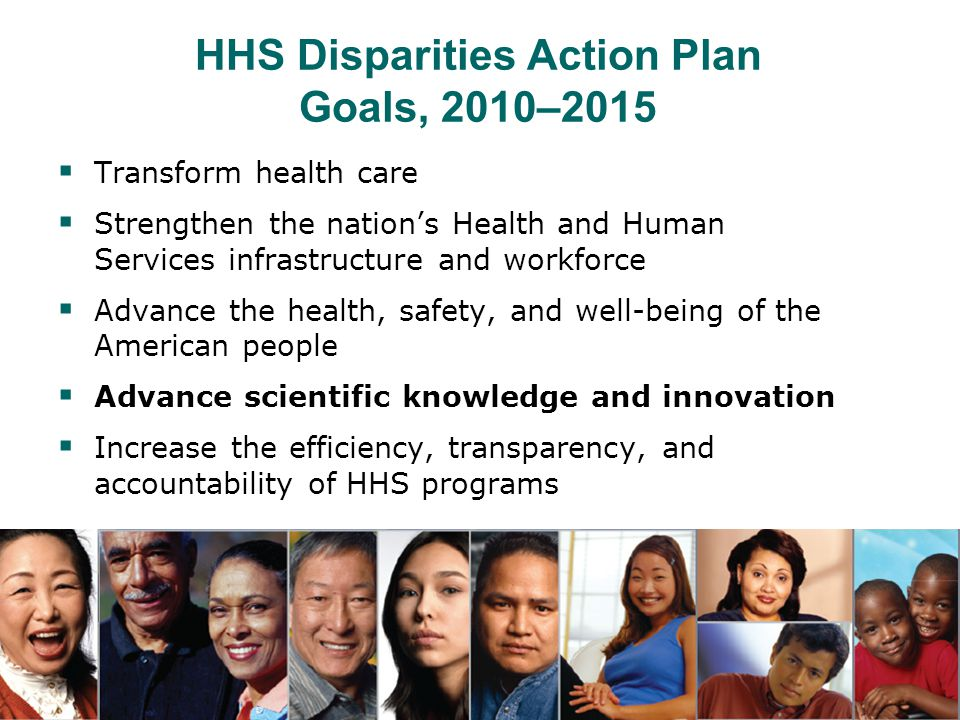 NIH Health Disparities Strategic Plan  Establishes principles for NIH's health disparities agenda  Outlines projects to address minority health and health disparitieswithin each NIH Institute and Center, NIH Office of the Director  Sets three major goals for each NIH IC: 1.