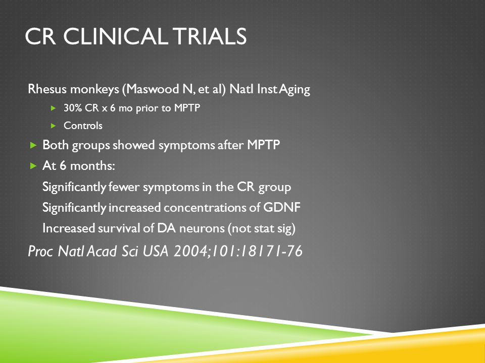 CR CLINICAL TRIALS Rhesus monkeys (Maswood N, et al) Natl Inst Aging  30% CR x 6 mo prior to MPTP  Controls  Both groups showed symptoms after MPTP