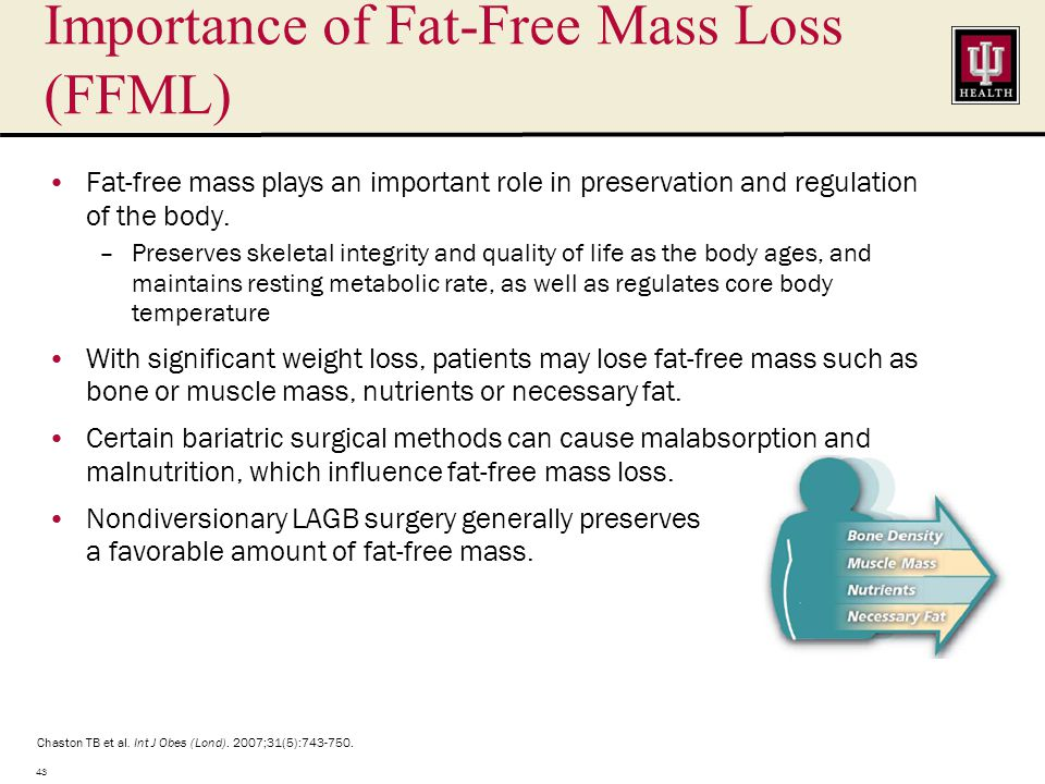 Importance of Fat-Free Mass Loss (FFML) Fat-free mass plays an important role in preservation and regulation of the body.