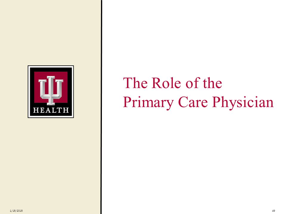 The Role of the Primary Care Physician 1/15/201549