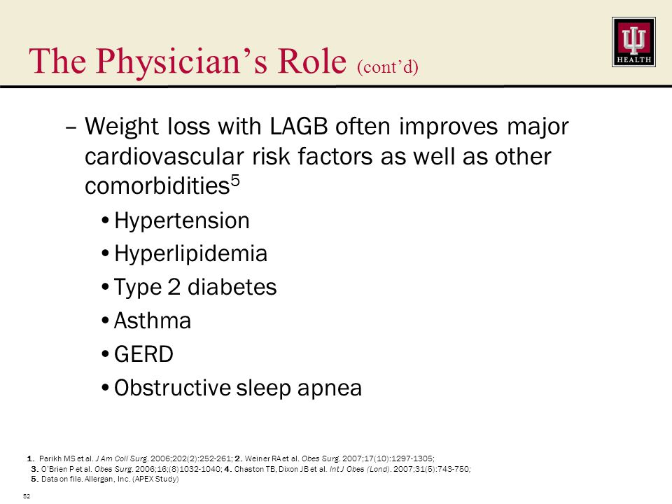 The Physician's Role (cont'd) –Weight loss with LAGB often improves major cardiovascular risk factors as well as other comorbidities 5 Hypertension Hyperlipidemia Type 2 diabetes Asthma GERD Obstructive sleep apnea 52 1.