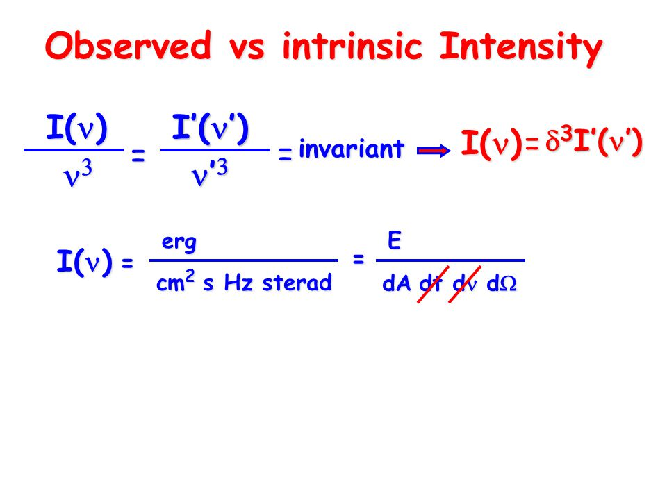 Observed vs intrinsic Intensity  3 I'( ') I( )  I'( ') '  '  = =invariant I( ) = cm 2 s Hz sterad =erg= dA dt d d  E