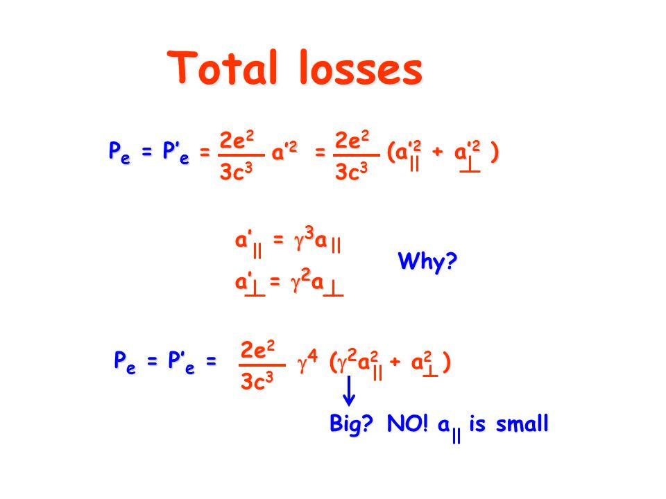 Total losses a' =  3 a a' =  2 a P e = P' e = 2e 2 3c 3 (  2 a 2 + a 2 ) 4444 2e 2 = 3c 3 a' 2 = 2e 2 3c 3 (a' 2 + a' 2 ) P e = P' e Big.
