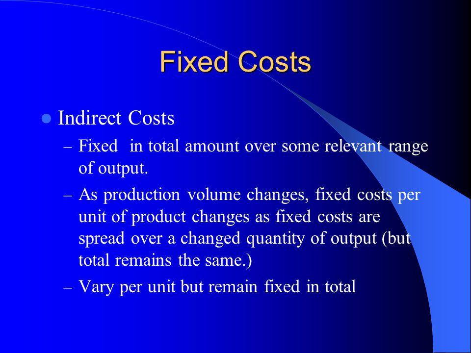 Fixed Costs Examples: – Administrative Salaries – Depreciation – Insurance – Property Taxes – Rent