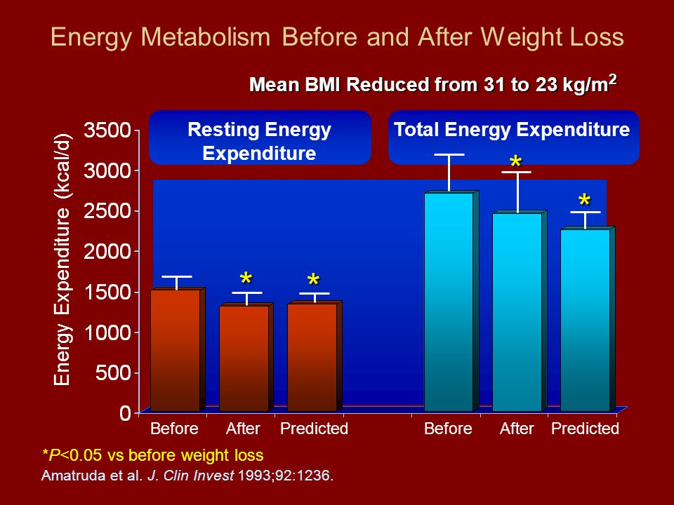 Energy Metabolism Before and After Weight Loss Energy Expenditure (kcal/d) Before *P<0.05 vs before weight loss Amatruda et al.