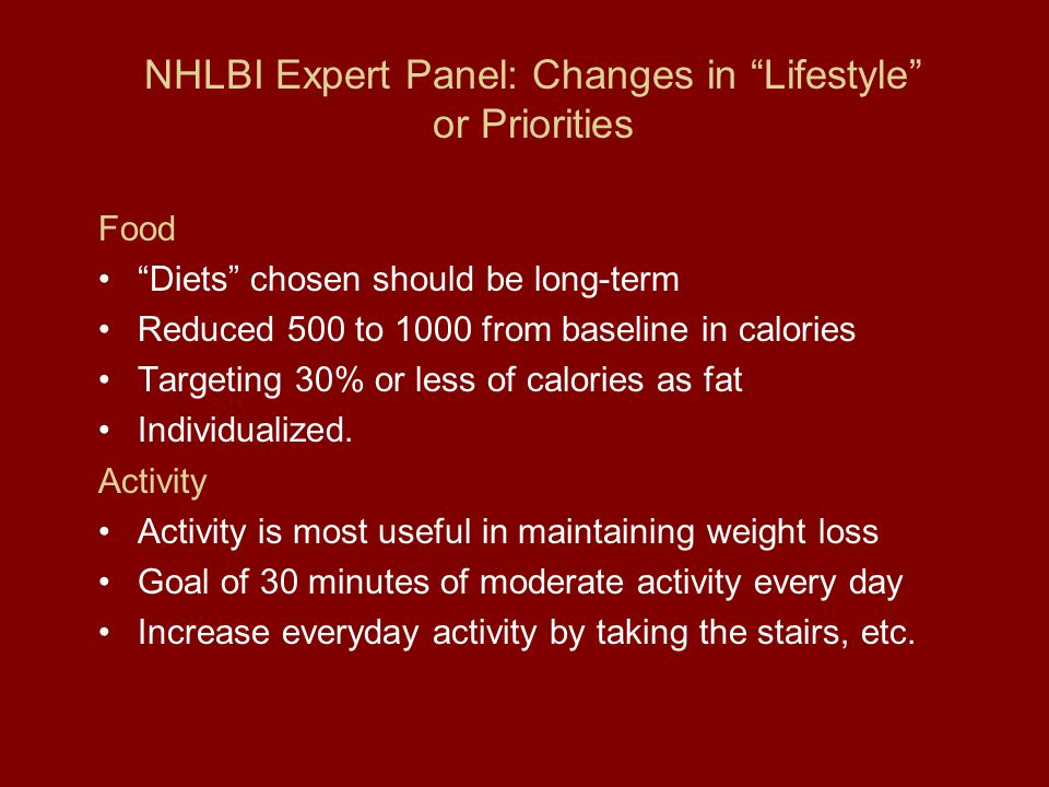 NHLBI Expert Panel: Changes in Lifestyle or Priorities Food Diets chosen should be long-term Reduced 500 to 1000 from baseline in calories Targeting 30% or less of calories as fat Individualized.