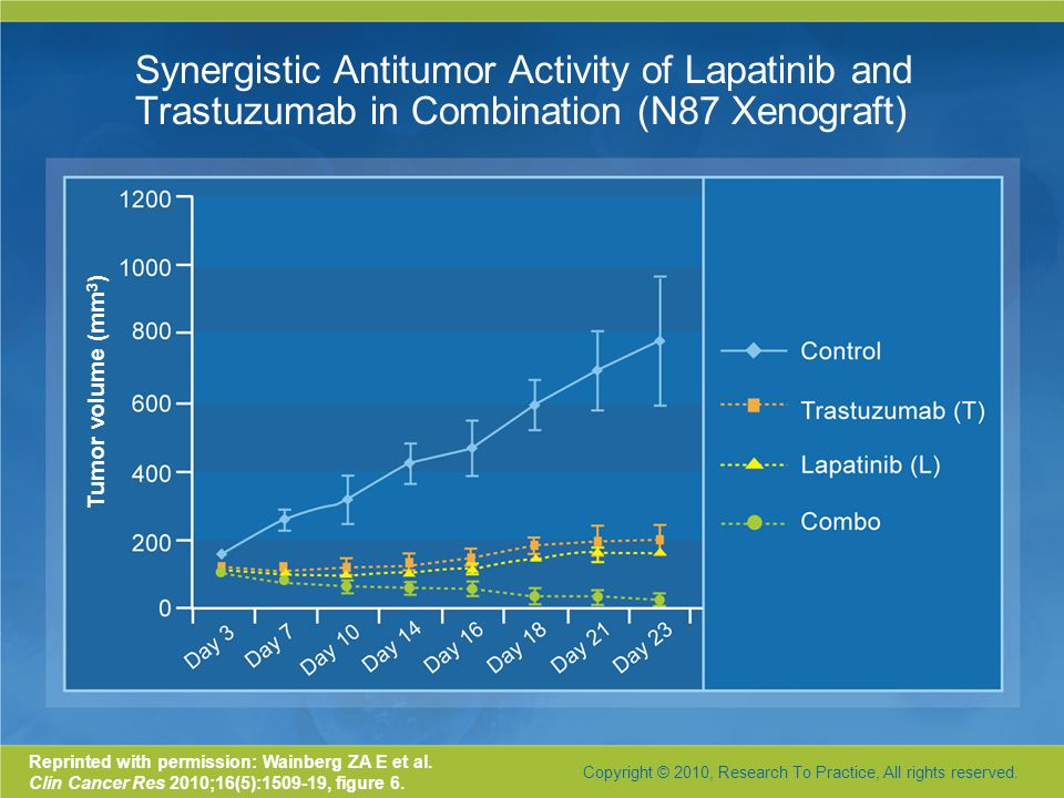 Synergistic Antitumor Activity of Lapatinib and Trastuzumab in Combination (N87 Xenograft) Reprinted with permission: Wainberg ZA E et al.