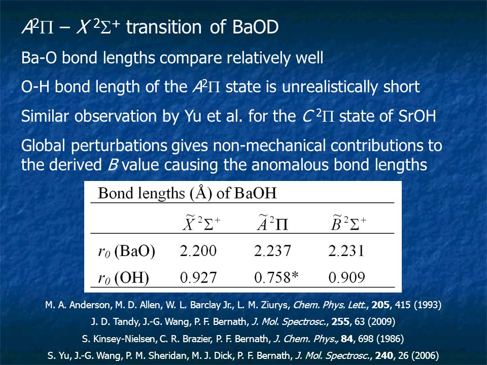 A 2  – X 2  + transition of BaOD Ba-O bond lengths compare relatively well O-H bond length of the A 2  state is unrealistically short Similar observation by Yu et al.