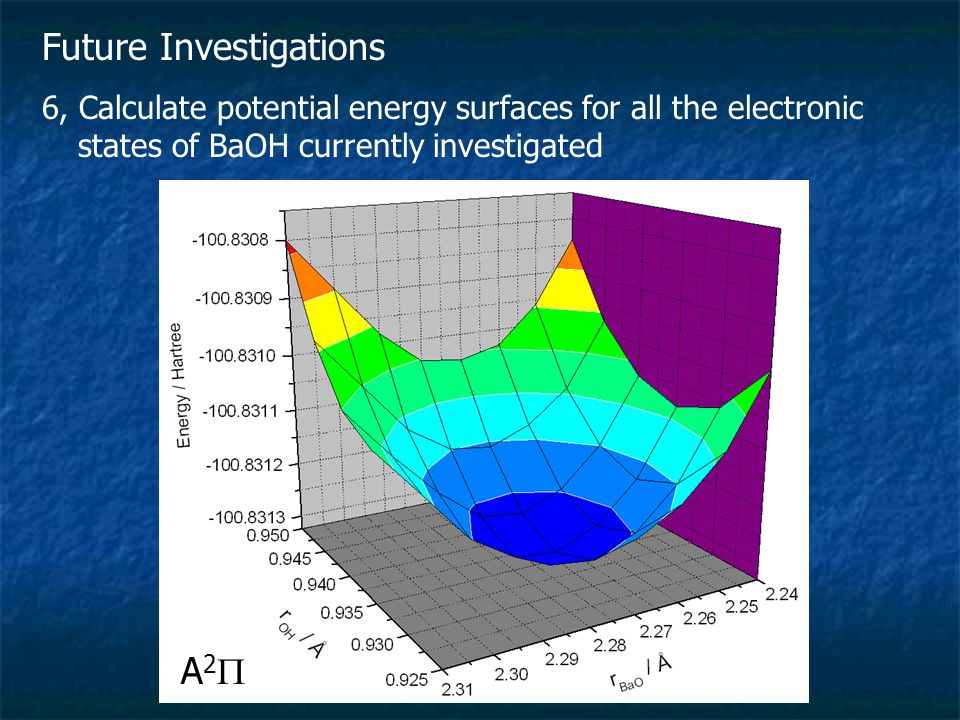 Future Investigations 6, Calculate potential energy surfaces for all the electronic states of BaOH currently investigated A2A2