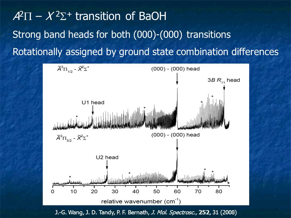 A 2  – X 2  + transition of BaOH Strong band heads for both (000)-(000) transitions Rotationally assigned by ground state combination differences J.-G.