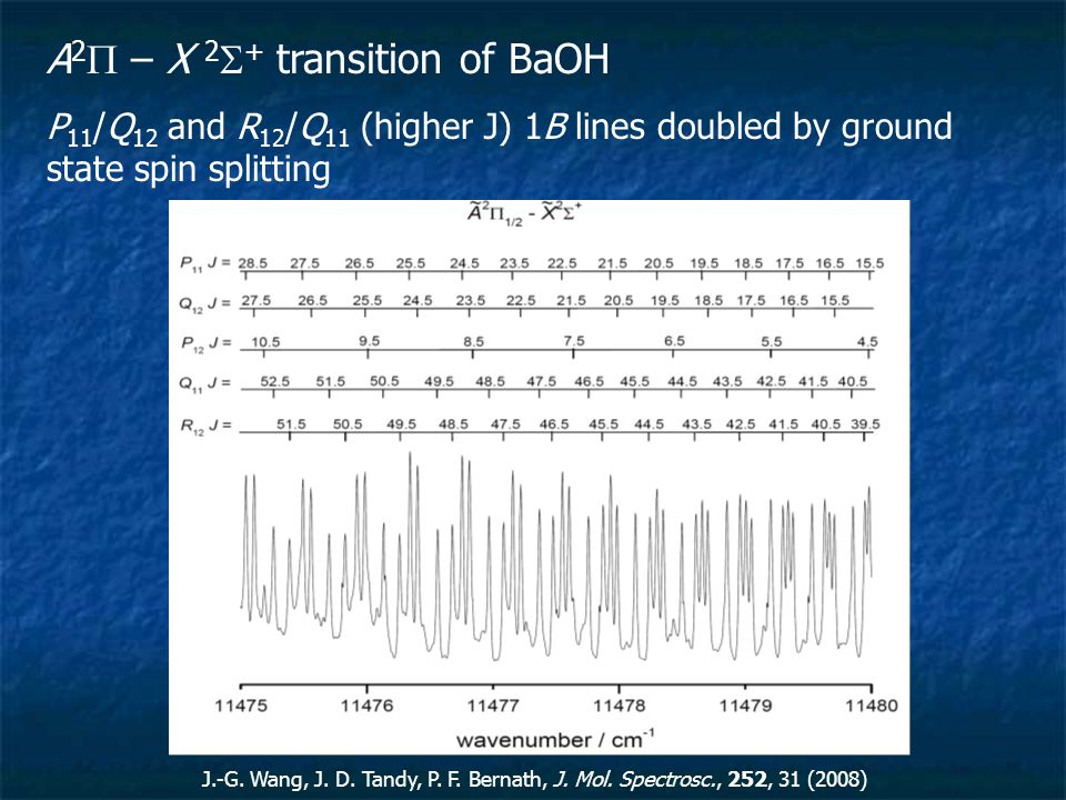 A 2  – X 2  + transition of BaOH P 11 /Q 12 and R 12 /Q 11 (higher J) 1B lines doubled by ground state spin splitting J.-G.