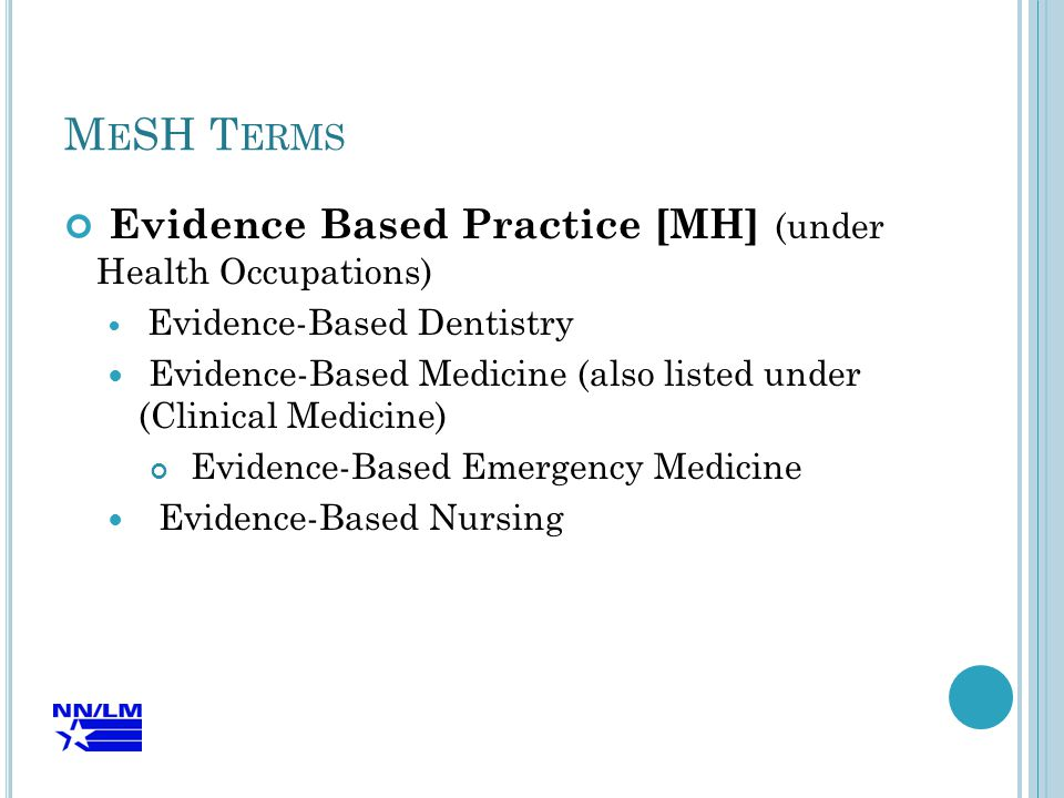 M E SH T ERMS Evidence Based Practice [MH] (under Health Occupations) Evidence-Based Dentistry Evidence-Based Medicine (also listed under (Clinical Medicine) Evidence-Based Emergency Medicine Evidence-Based Nursing