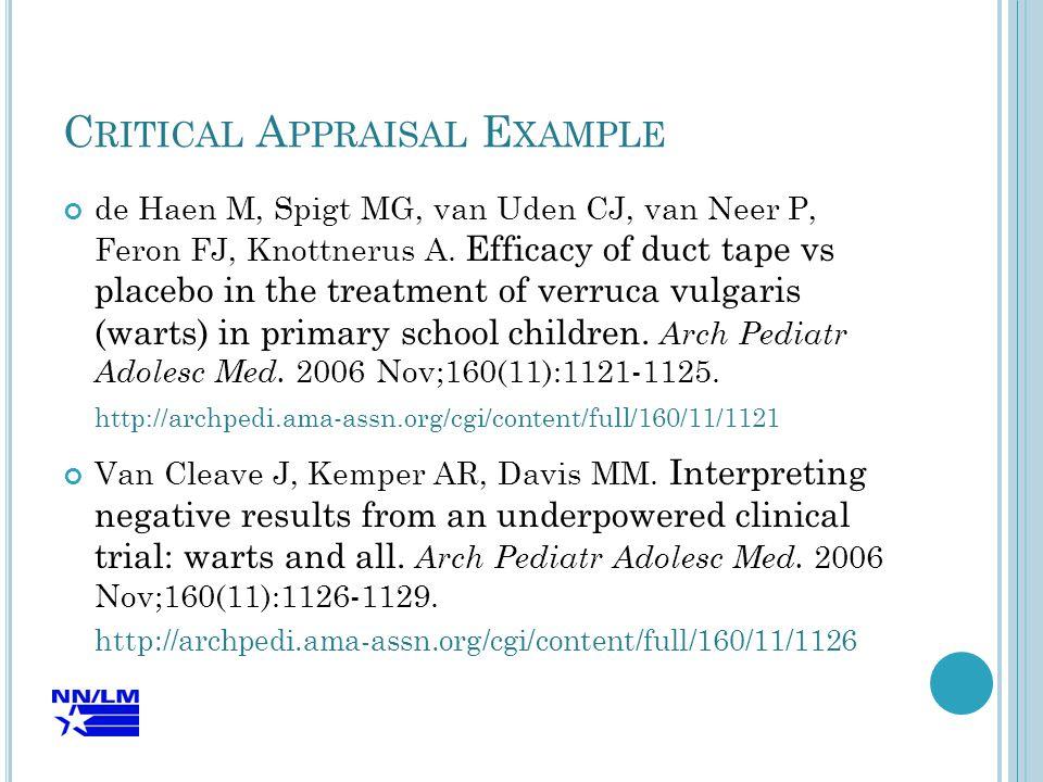 C RITICAL A PPRAISAL E XAMPLE de Haen M, Spigt MG, van Uden CJ, van Neer P, Feron FJ, Knottnerus A.