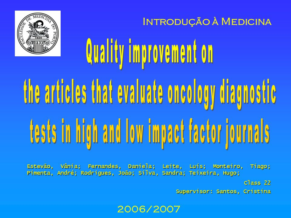 - even though both impact factors have increased their article s quality, the better articles are published in the journals with higher impact factor - from 2003, the improvement in quality is higher than it was before