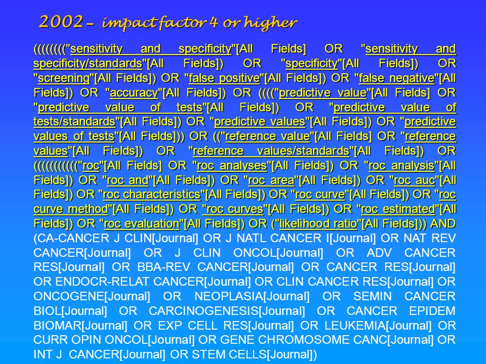 2002 – impact factor 4 or higher (((((((( sensitivity and specificity [All Fields] OR sensitivity and specificity/standards [All Fields]) OR specificity [All Fields]) OR screening [All Fields]) OR false positive [All Fields]) OR false negative [All Fields]) OR accuracy [All Fields]) OR (((( predictive value [All Fields] OR predictive value of tests [All Fields]) OR predictive value of tests/standards [All Fields]) OR predictive values [All Fields]) OR predictive values of tests [All Fields])) OR (( reference value [All Fields] OR reference values [All Fields]) OR reference values/standards [All Fields]) OR ((((((((((( roc [All Fields] OR roc analyses [All Fields]) OR roc analysis [All Fields]) OR roc and [All Fields]) OR roc area [All Fields]) OR roc auc [All Fields]) OR roc characteristics [All Fields]) OR roc curve [All Fields]) OR roc curve method [All Fields]) OR roc curves [All Fields]) OR roc estimated [All Fields]) OR roc evaluation [All Fields]) OR ( likelihood ratio [All Fields])) AND (((((((( sensitivity and specificity [All Fields] OR sensitivity and specificity/standards [All Fields]) OR specificity [All Fields]) OR screening [All Fields]) OR false positive [All Fields]) OR false negative [All Fields]) OR accuracy [All Fields]) OR (((( predictive value [All Fields] OR predictive value of tests [All Fields]) OR predictive value of tests/standards [All Fields]) OR predictive values [All Fields]) OR predictive values of tests [All Fields])) OR (( reference value [All Fields] OR reference values [All Fields]) OR reference values/standards [All Fields]) OR ((((((((((( roc [All Fields] OR roc analyses [All Fields]) OR roc analysis [All Fields]) OR roc and [All Fields]) OR roc area [All Fields]) OR roc auc [All Fields]) OR roc characteristics [All Fields]) OR roc curve [All Fields]) OR roc curve method [All Fields]) OR roc curves [All Fields]) OR roc estimated [All Fields]) OR roc evaluation [All Fields]) OR ( likelihood ratio [All Fields])) AND (CA-CANCER J CLIN[Journal] OR J NATL CANCER I[Journal] OR NAT REV CANCER[Journal] OR J CLIN ONCOL[Journal] OR ADV CANCER RES[Journal] OR BBA-REV CANCER[Journal] OR CANCER RES[Journal] OR ENDOCR-RELAT CANCER[Journal] OR CLIN CANCER RES[Journal] OR ONCOGENE[Journal] OR NEOPLASIA[Journal] OR SEMIN CANCER BIOL[Journal] OR CARCINOGENESIS[Journal] OR CANCER EPIDEM BIOMAR[Journal] OR EXP CELL RES[Journal] OR LEUKEMIA[Journal] OR CURR OPIN ONCOL[Journal] OR GENE CHROMOSOME CANC[Journal] OR INT J CANCER[Journal] OR STEM CELLS[Journal])